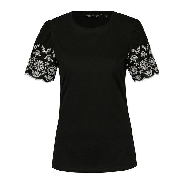 Tricou negru cu broderie pe maneci - Dorothy Perkins