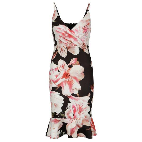 Rochie neagra cu print floral si volan decorativ - Scarlett B