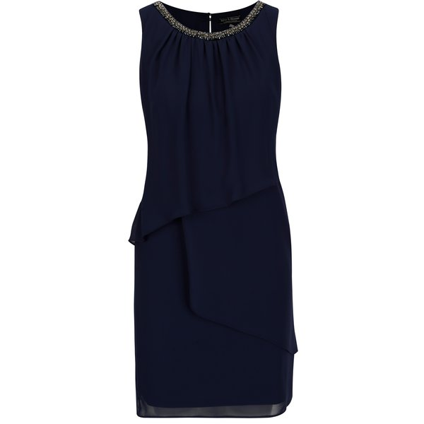 Rochie bleumarin cu drapaje asimetrice si strasuri decorative - Billie & Blossom