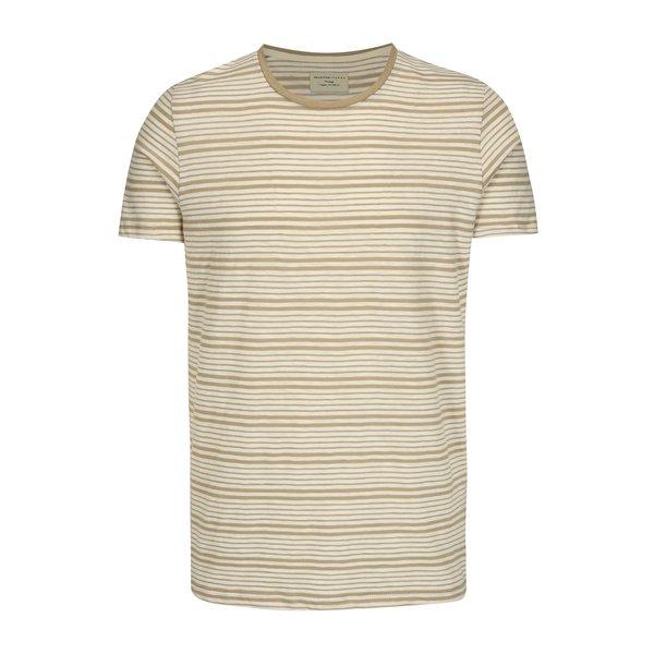 Tricou cu dungi bej & crem din bumbac - Selected Homme Malthe