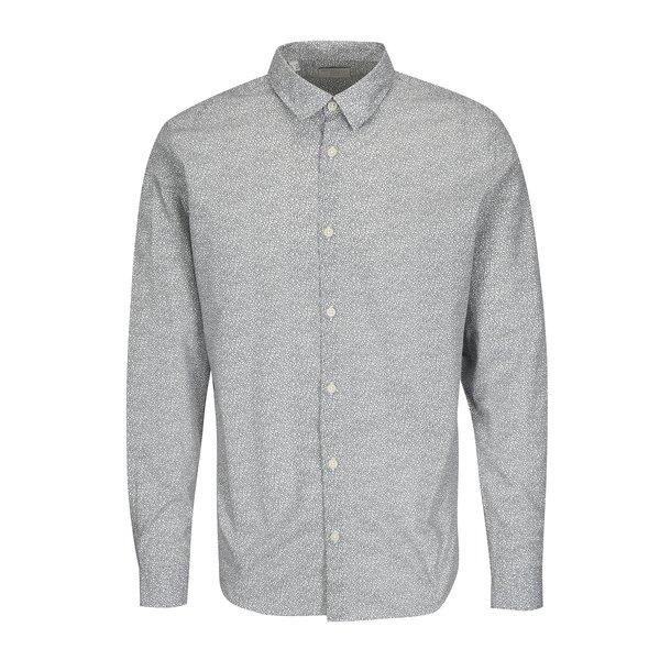 Camasa slim fit cu print floral stilizat alb & negru - Selected Homme One Mini