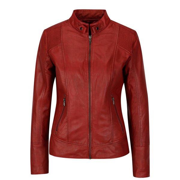 Jacheta biker rosie din piele naturala pentru femei - KARA Quime
