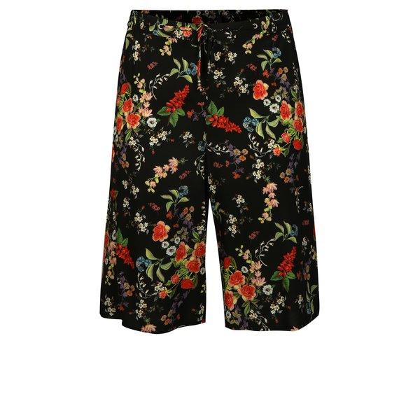 Pantaloni scurti negri cu print floral Ulla Popken