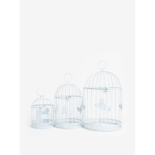 Set de 3 colivii decorative albe - Dakls