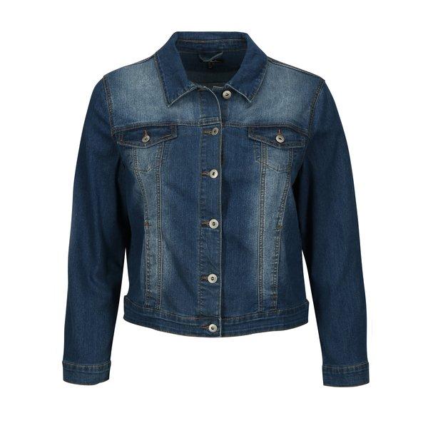 Jacheta din denim bleumarin cu aspect decolorat Ulla Popken