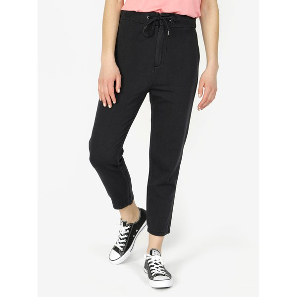 Pantaloni cropped gri inchis cu talie inalta - VERO MODA Indy