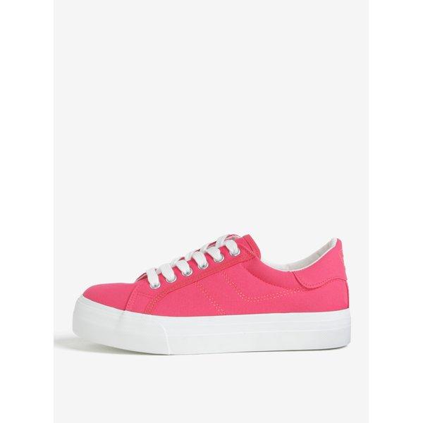 Tenisi roz neon cu platforma - Tamaris