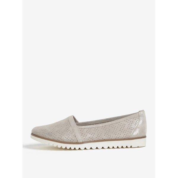 Pantofi slip on gri din piele cu perforatii si aspect stralucitor – Tamaris