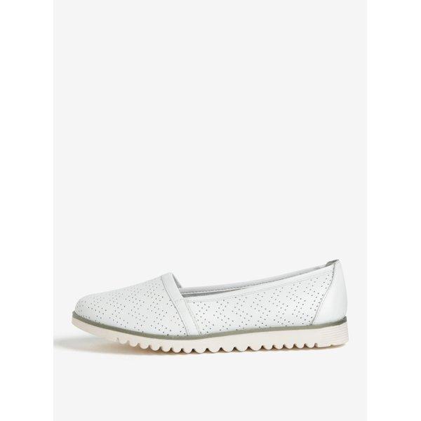 Pantofi slip on albi din piele cu perforatii – Tamaris