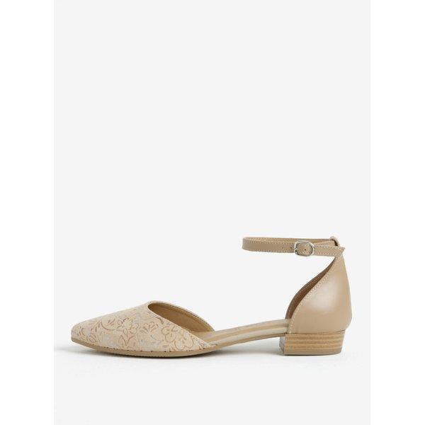 Sandale bej din piele intoarsa cu print floral – Tamaris