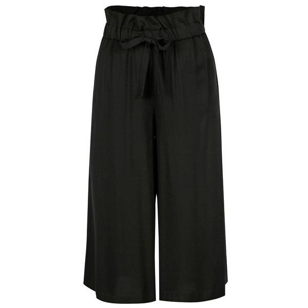 Pantaloni culottes negri cu cordon in talie - VILA Amaly