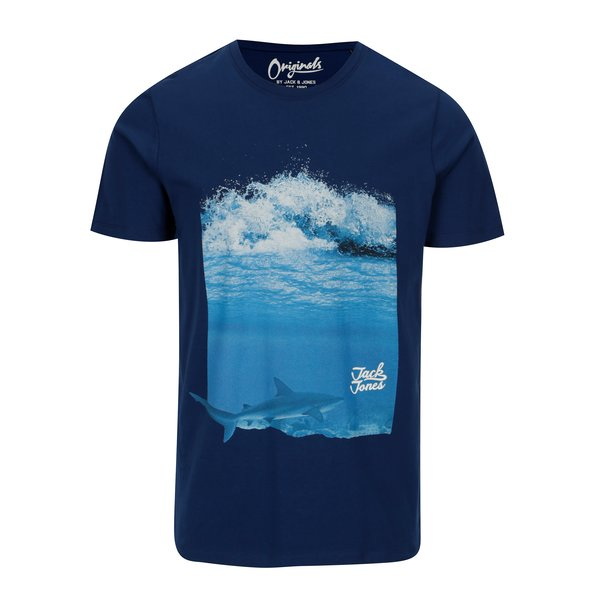 Tricou bleumarin cu print ocean Jack & Jones Premium Horizon