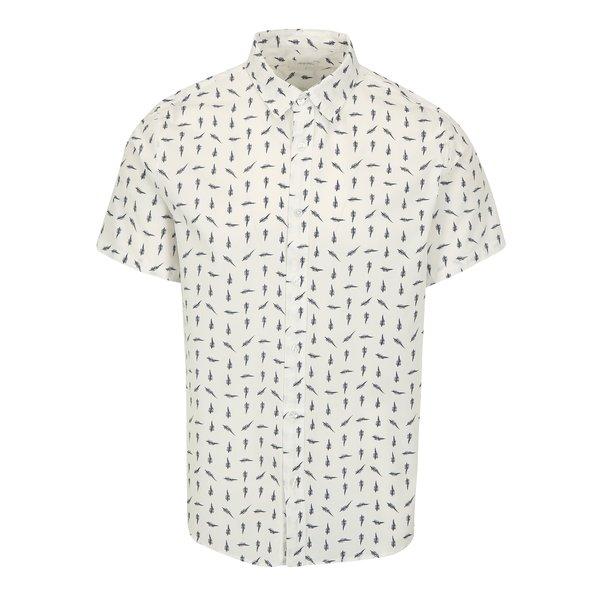 Camasa alba din bumbac cu print pene - Burton Menswear London