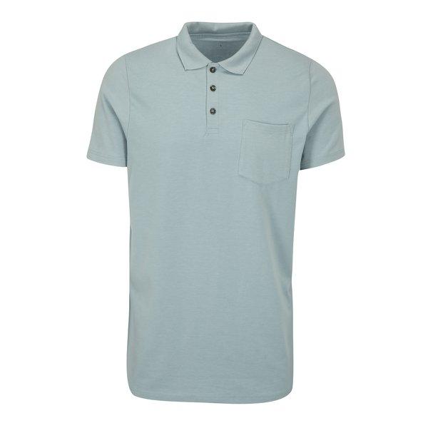 Tricou polo muscle fit bleu cu buzunar la piept - Burton Menswear London