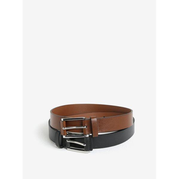 Set de 2 curele maro & negru cu aspect de piele - Burton Menswear London