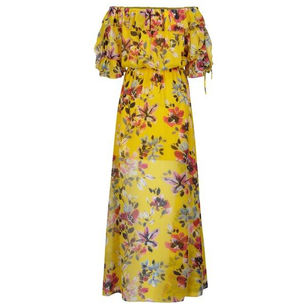 Rochie maxi galbena cu print floral si decolteu pe umeri - French Connection Linosa