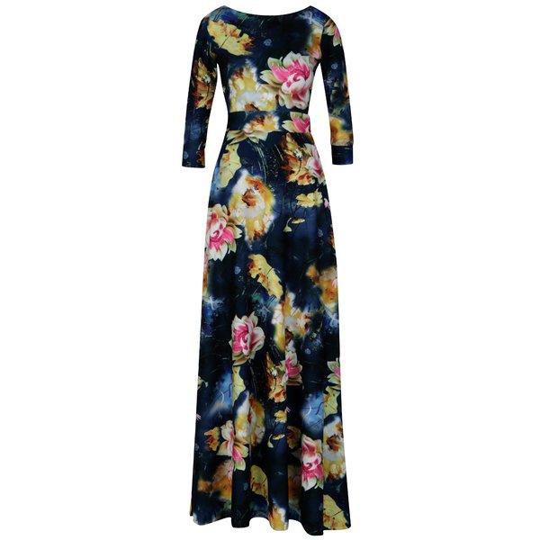 Rochie maxi bleumarin cu print floral si decupaj amplu la spate – miestni