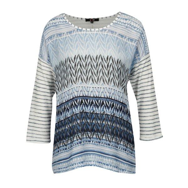 Bluza albastra cu maneci 3/4 si print abstract - Yest