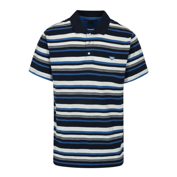 Tricou polo bleumarin cu dungi albe pentru barbati - BUSHMAN Mayer