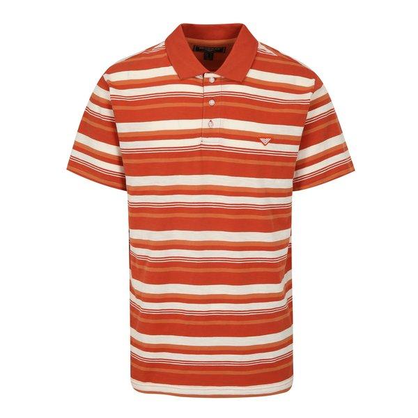 Tricou polo oranj cu dungi crem pentru barbati - BUSHMAN Mayer