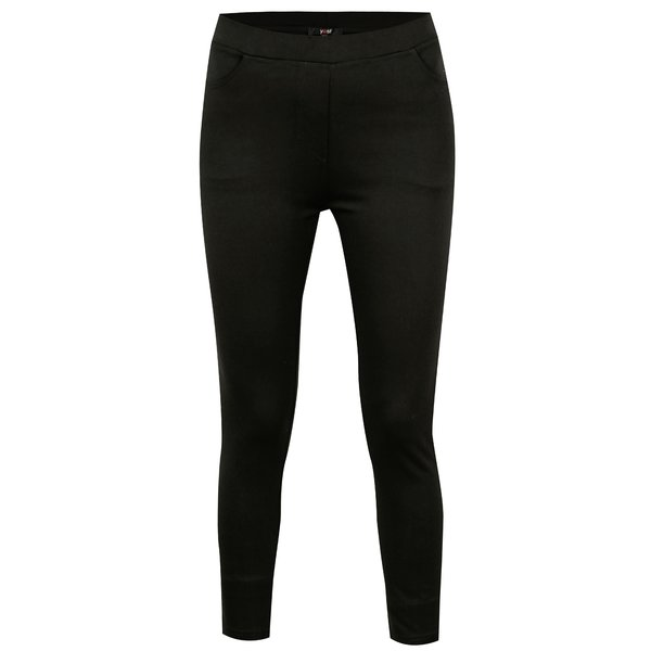 Pantaloni elastici negri cu fermoare la terminatii - Yest