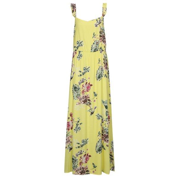 Rochie maxi galbena cu print floral si volane VILA Tetri
