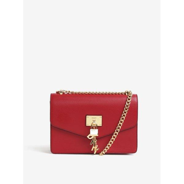 Geanta rosie din piele cu pandantive decorative -DKNY Elissa