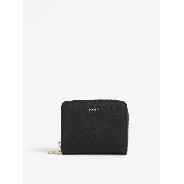 Portofel negru de piele cu logo - DKNY Carryall