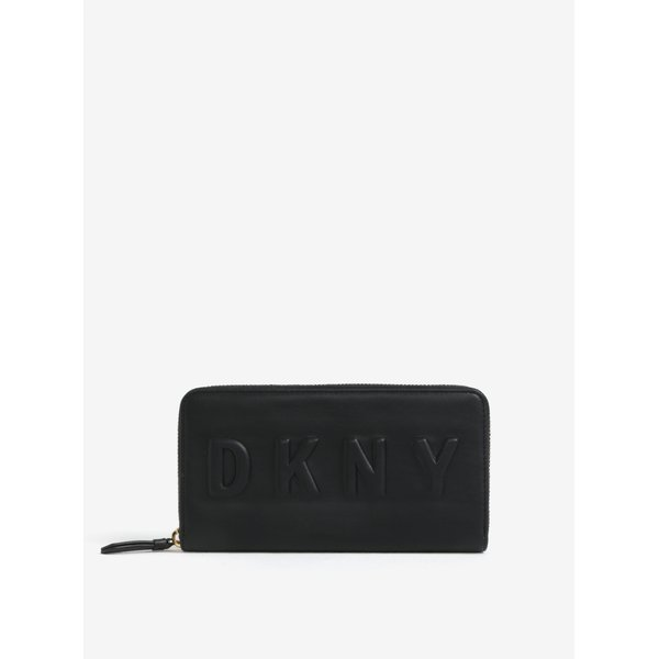 Portofel mare negru cu logo stantat - DKNY Around