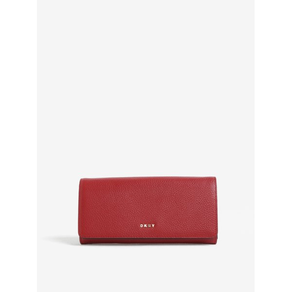 Portofel rosu mare din piele naturala cu logo - DKNY Carryall