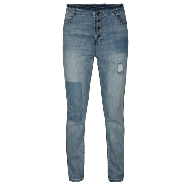 Blugi drepti bleu cu talie nefinisata si aspect deteriorat – DKNY