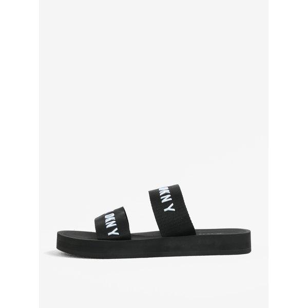 Papuci negri cu barete si logo - DKNY Millie