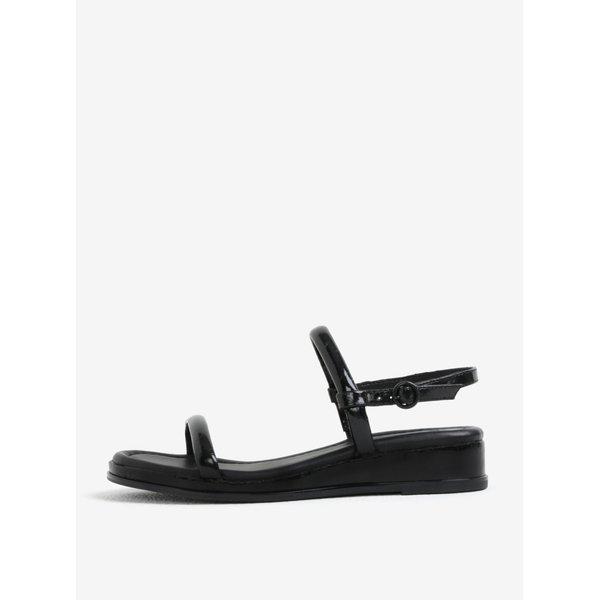 Sandale wedge negre cu aspect de lemn – DKNY