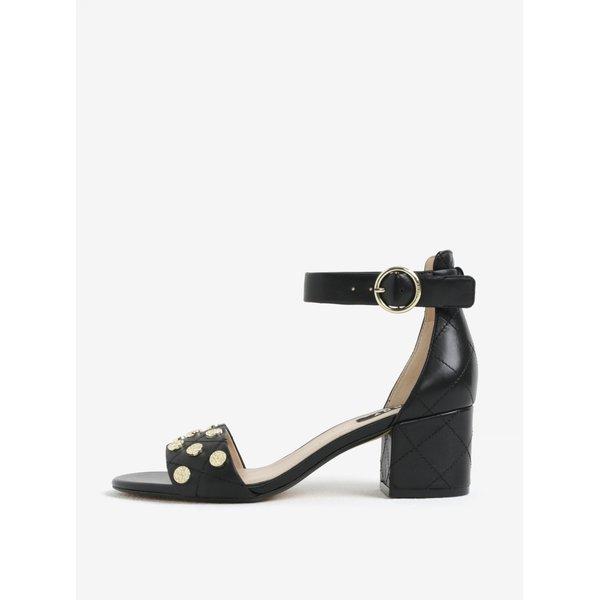 Sandale negre din piele cu toc si aspect matlasat – DKNY Henli