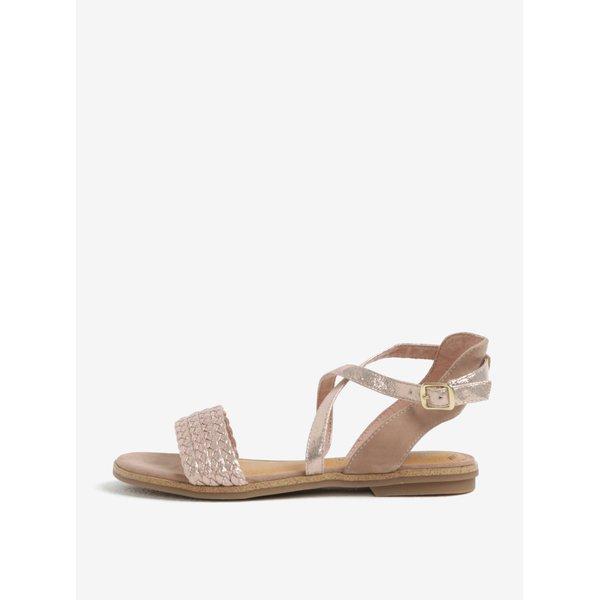 Sandale din piele roz prafuit cu aspect lucios – s.Oliver