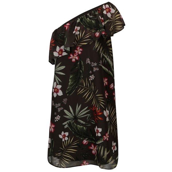 Rochie kaki cu decolteu pe un umar si print floral ONLY Maya