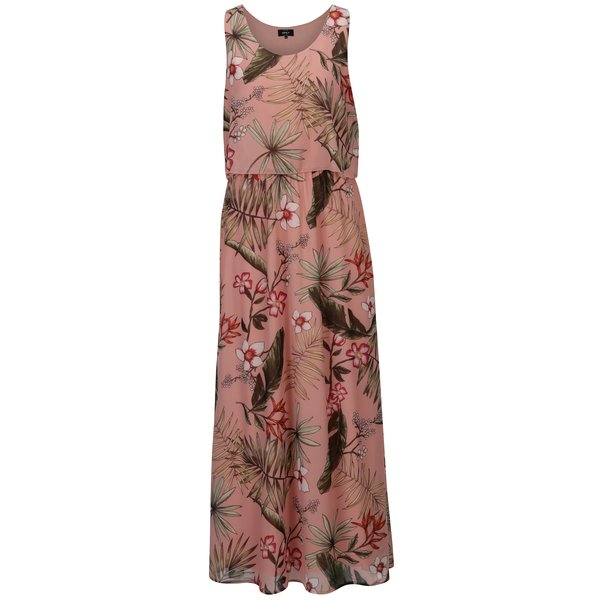 Rochie maxi roz prafuit cu print floral ONLY Maya