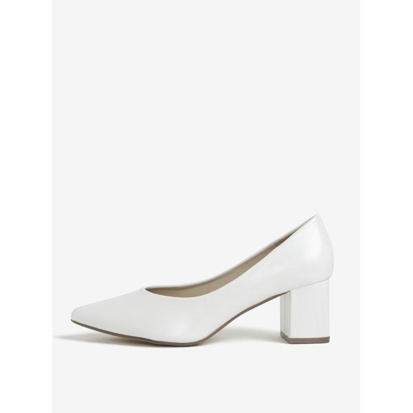 Pantofi albi retro cu toc patrat MISSGUIDED