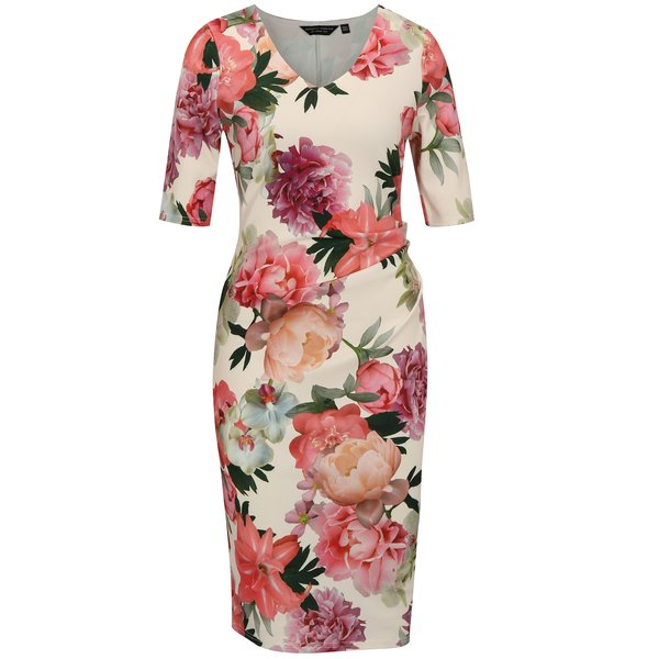 Rochie crem cu print floral si pense laterale Dorothy Perkins
