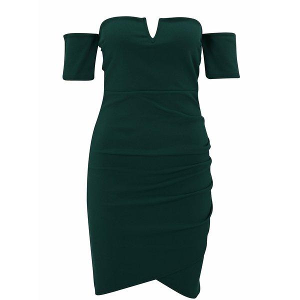 Rochie verde cu decolteu pe umeri MISSGUIDED
