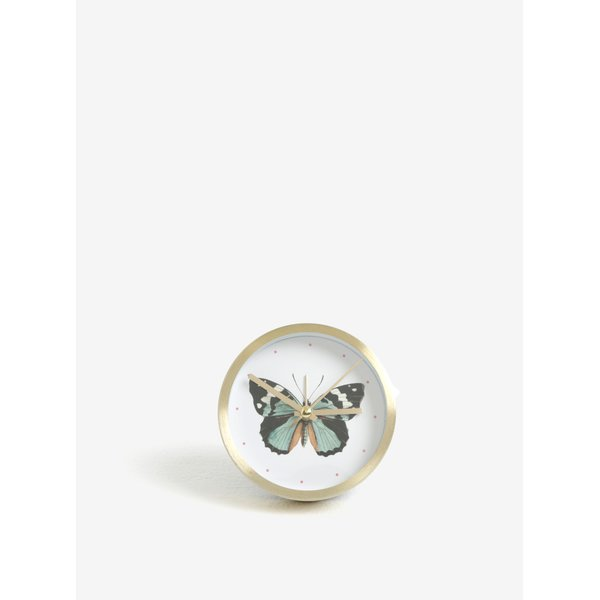 Ceas alb&auriu cu print fluture Magpie Butterfly