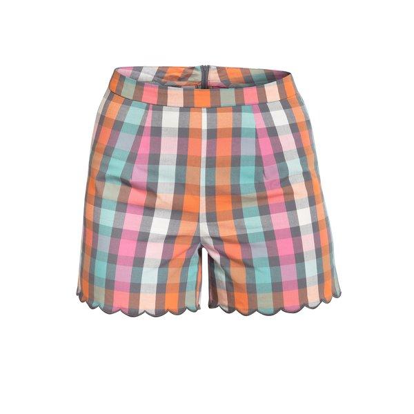 Pantaloni scurti multicolor in carouri cu terminatie ondulata Blutsgeschwister