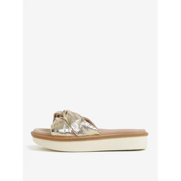 Papuci aurii din piele naturala – Tamaris