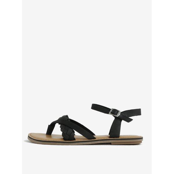 Sandale flip flop negre din piele naturala – TOMS