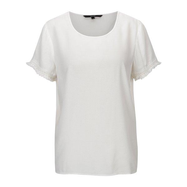 Tricou alb cu model discret si franjuri – VERO MODA Mynte