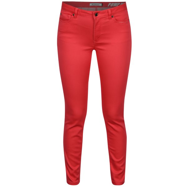 Pantaloni slim fit roz inchis cu talie joasa - SH Guaruja