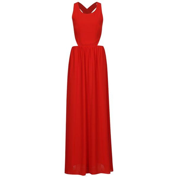Rochie maxi rosie cu decupaje si bretele incrucisate la spate – SH Pereirde