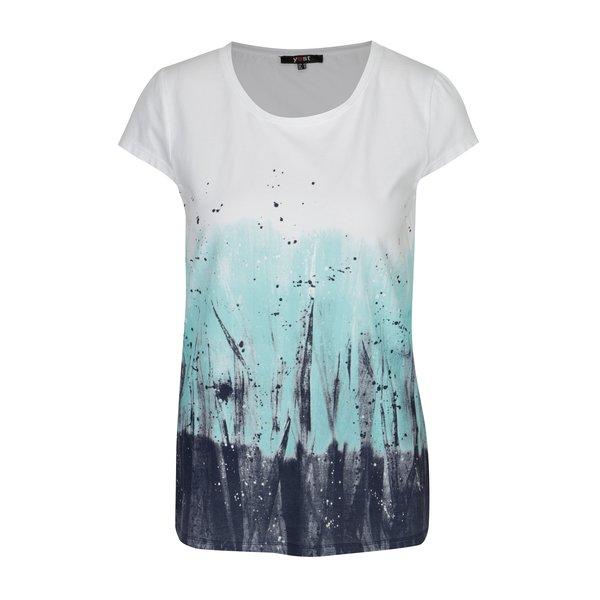 Tricou alb cu print abstract turcoaz – Yest