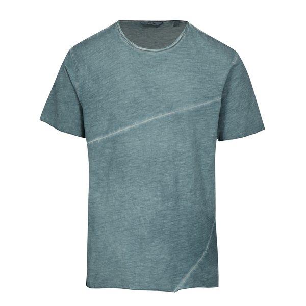 Tricou albastru cu aspect decolorat si cusatura asimetrica ONLY & SONS Stewie