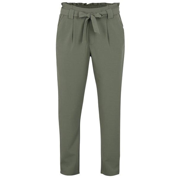 Pantaloni cu talie inalta si funda verde oliv – Jacqueline de Yong Dakota